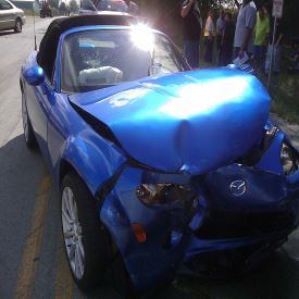 Wrecked Blue Car